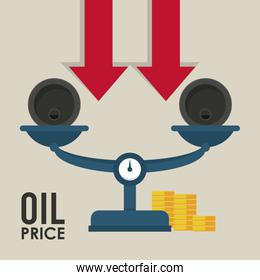 oil price infographic with barrels and balance