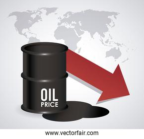 oil price infographic with barrel and earth planet