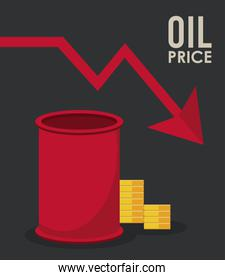 oil price infographic with barrel and coins