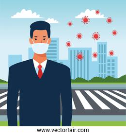 businessman using face mask for covid19 in the street