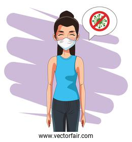woman using face mask and stop covid19 signal