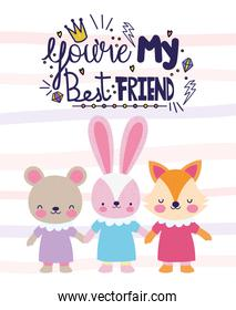 youre my best friend cute animals holding hands card