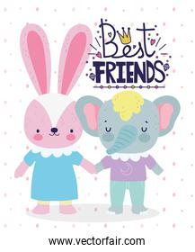 best friends cute rabbit and elephant holding hands card