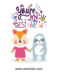 best friends card cute fox and sloth cartoon holding hands