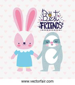 best friends cute rabbit and sloth holding hands card