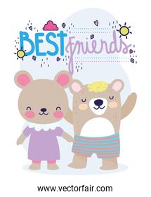 best friends little bears with dress and pants cartoon card