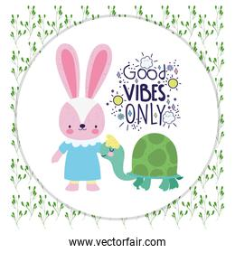 cute rabbit and turtle cartoon good vibes only card