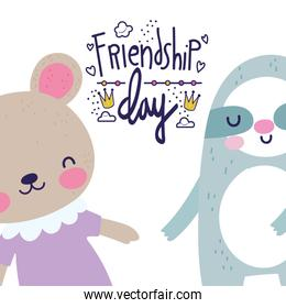friendship day cute bears together holding hands greeting card