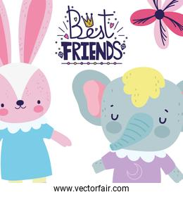friendship day cute rabbit and elephant together holding hands greeting card