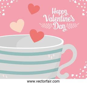 happy valentines day coffee cup flying hearts love romantic