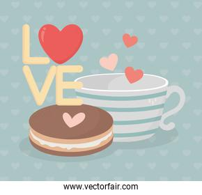 happy valentines day coffee cup and cookie heart love lettering