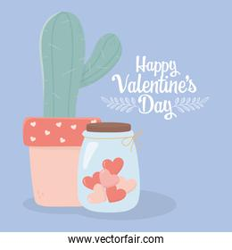 happy valentines day potted cactus and jar glass hearts love