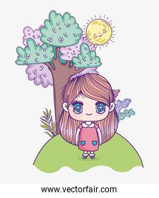 kids, cute little girl cartoon anime with pink dress and tree sunny day