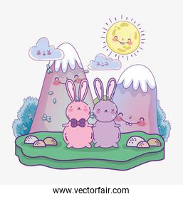 cute rabbits cartoon characters landscape mountains sunny day