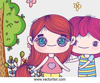 kids, little girl and boy anime cartoon characters tree flowers leaves