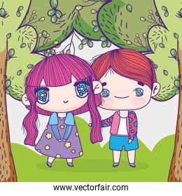 kids, little boy and girl anime cartoon in the grass trees nature