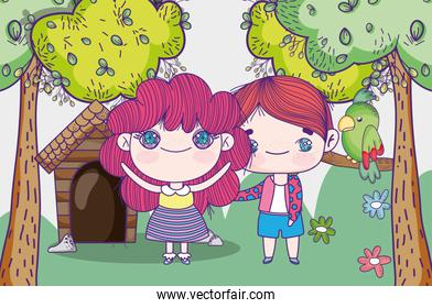 kids, little girl and boy anime cartoon house trees flowers and parrot