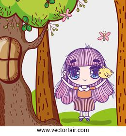 kids, little girl anime cartoon with tree chicken butterfly nature