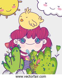 kids, little girl anime cartoon with chicken in head foliage nature