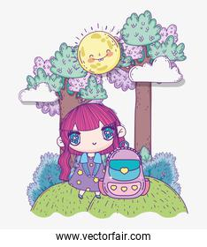 kids, cute little girl anime cartoon with backpack outdoor
