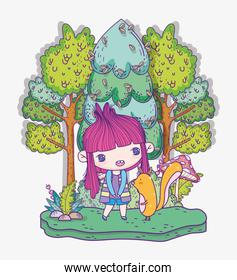 kids, cute little girl anime cartoon and squirrrel in the forest trees grass
