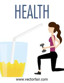 sport woman with barbell and juice diet health food