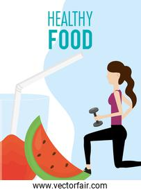 sporting woman with barbell watermelon juice health food