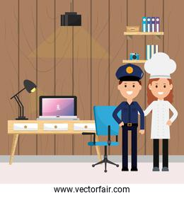 policeman and woman chef labor office desk computer chair lamp