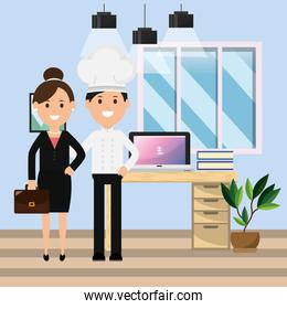 chef man and businesswoman in the office computer desk books plant