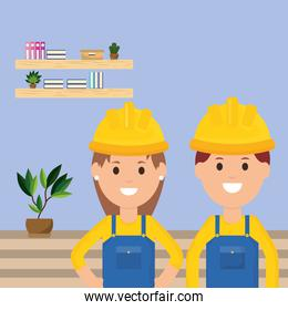 team workers man and woman employee profession