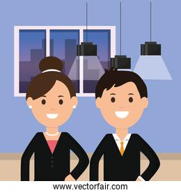 business man and woman workscape ceiling lamps