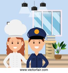 policeman and woman chef workspace desk books plant and lamps