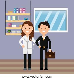doctor woman with stethoscope and businessman with briefcase room shelf books window