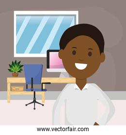 afro american business man office desk computer chair plant