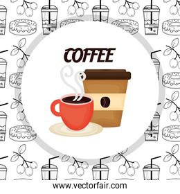 hot cup and disposable cup fresh beverage coffee time