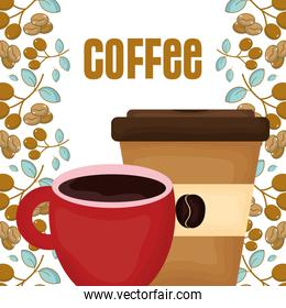 red cup and disposable cup fresh beverage coffee time seeds background