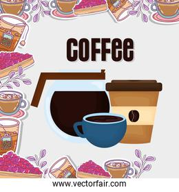 coffee maker cup and disposable cup fresh beverage