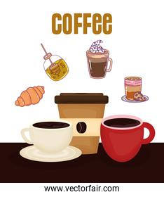 cups croissant honey frappe disposable cup fresh beverage coffee time