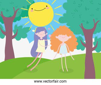 happy valentines day, cute young woman and funny cupid cartoon sunny day