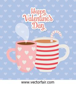happy valentines day, cup chocolate and coffee cup with hearts and stripes
