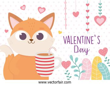 happy valentines day, cute fox with cup chocolate and candy cane hearts love foliage