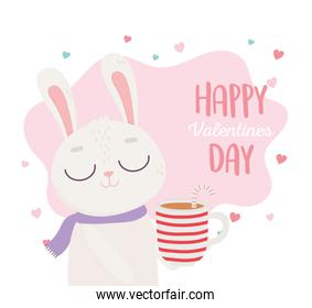happy valentines day, cute bunny with cup chocolate and candy cane love