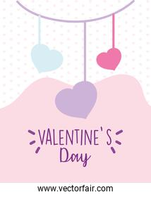 happy valentines day, hanging hearts love decoration feelings