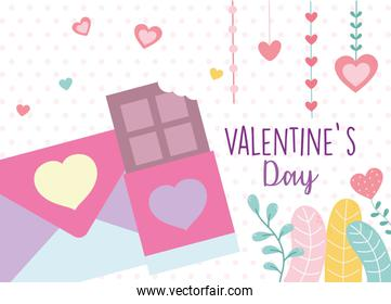 happy valentines day, sweet chocolate bar and envelope letter love hearts feelings foliage decoration