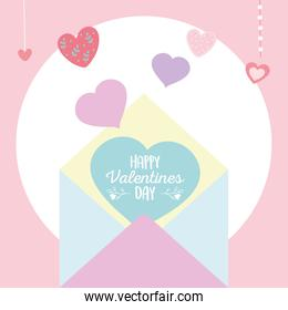happy valentines day, envelope message with hearts love romantic