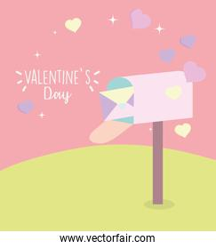 happy valentines day, mailbox envelope message letter romantic hearts love