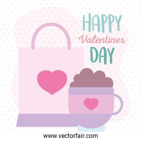 happy valentines day, shopping bag and cup chocolate dots background