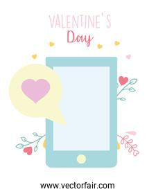 happy valentines day, smartphone speech bubble floral decoration
