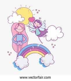 happy valentines day, cute girl and flying cupid love rainbow romantic