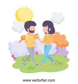 couple together woman with smartphone walking outdoor healthy lifestyle